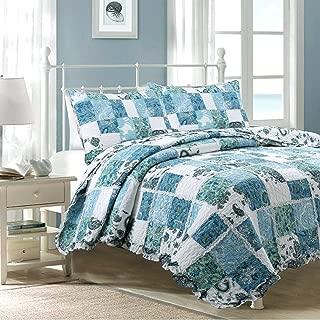 Cozy Line Home Fashions Calypso Real Patchwork Quilt Bedding Set, 3D White Lace Flower Floral Blue Printed, 100% Cotton Reversible Bedspread Coverlet for Women (Aqua Blue, Queen - 3 Piece)