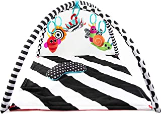 Sassy Black & White Tummy Time Playmat for Tummy or Back Play with Detachable Toys,..