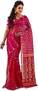 SareesofBengal Women's CottonSilk Handloom Jamdani Dhakai Saree Magenta