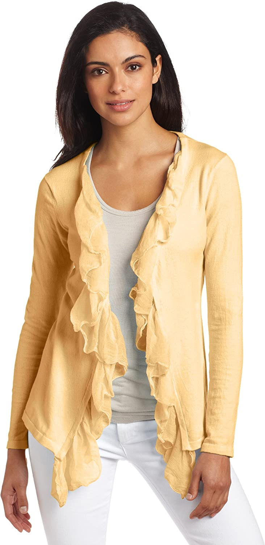 Minnie Rose Women's Long Sleeve Crinkle Chiffon Cardigan Sweater