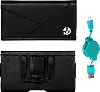 Vegan Leather Wallet Carrying Holster Pouch for Huawei P30, P30 Lite, Y5 Lite, Y5 Prime, Y3, Honor 10, Smartphones up to 6 inch and Retractable USB Charge and Sync Cable (Teal)