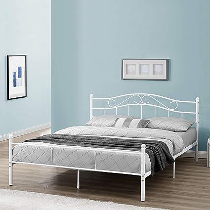[en.casa] Cama de Metal Doble (Florencia)(200 x 200cm)(Blanca) con cabecero Curvado/Recubrimiento en Polvo/somier Incluido