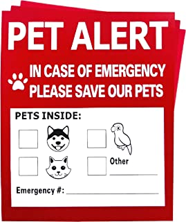 Pet Alert Safety Fire Rescue Sticker - 3 Pack,in Case of Fire Notify Rescue Personnel to Save Pets