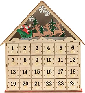 Santa With Reindeer LED Wooden Advent Calendar
