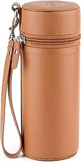 Mrs. Brog Elegant Full Grain Leather Cigar Humidor - Travel Case - Tan