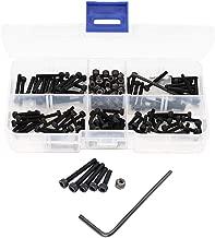 binifiMux 160pcs M2.5 Black Hex Socket Cap Screws Self Locking Nuts Assortment Kit, 12.9 Grade Carbon Steel, M2.5 x 10mm/ 12mm,/ 16mm/ 18mm/ 20mm