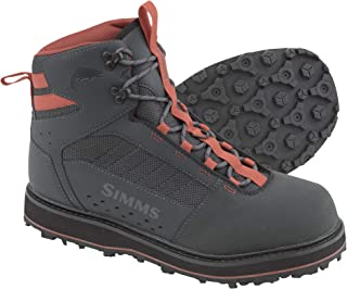 Simms Tributary Rubber Sole Wading Boots for Adults –Rubber Bottom Fishing Boots – Durable Rubber Toe Cap - Neoprene Lining