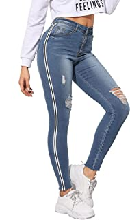 High Women's Stripe Side Ripped Jeggings Pocket Denim Skinny Stretch Jeans Pants