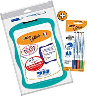 BIC Velleda Double-Sided Dry Erase Board (21 x 31 cm) with Whiteboard Marker and Eraser + 4 Free Whiteboar Markers - Assor...