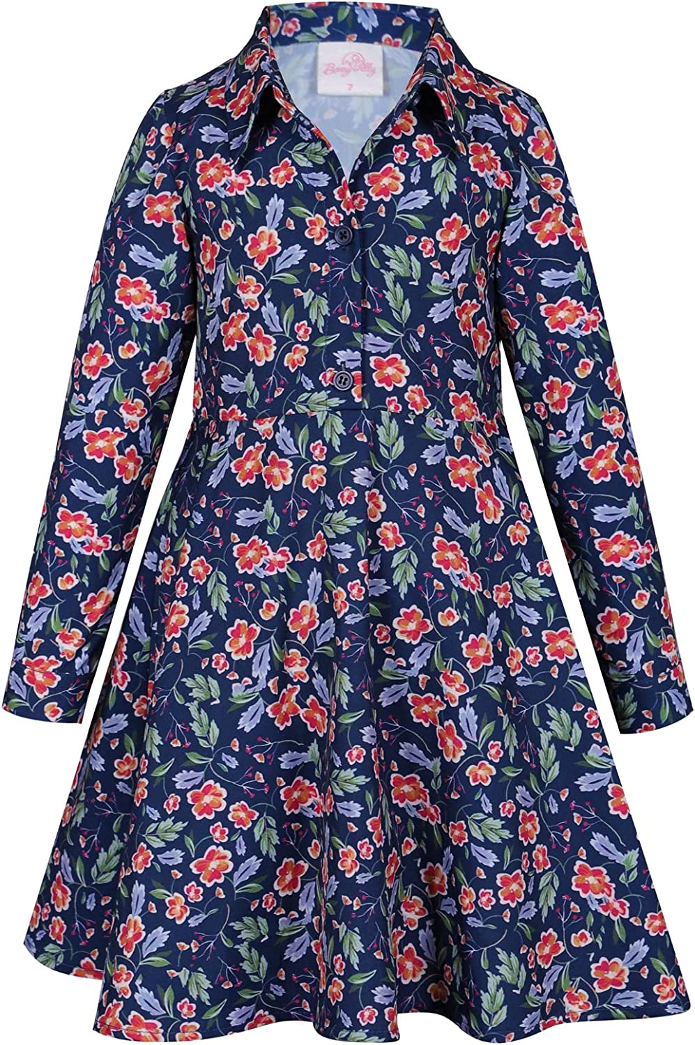 Bonny Billy Girl's Classic Collar Button Down Printed Shirt Dress with Long Sleeves