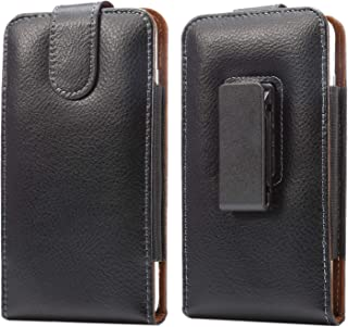 Faux Leather Swivel Belt Clip Pouch Holster Magnetic Latch Phone Holder Case for iPhone XR/HTC Desire 12S / LG Stylo 4, V30 / Motorola One, Moto E5 Play/ZenFone 5Z (Fits Otterbox Symmetry Case)(M)