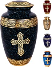 Black and Gold Christian Cross Urn. 100% Brass Cremation Urns for Human Ashes Adult, Handcrafted & Painted for A Final Res...