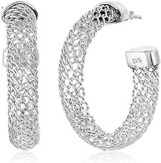 Best sterling silver mesh hoop earrings Reviews