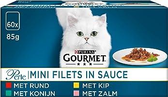 Gourmet Perle Mini Filets Kattenvoer, Natvoer, Maaltijdzakjes met Rund, Kip, Konijn, Zalm in Saus, 60 x 85g - (60...