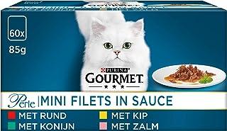 Gourmet Perle Mini Filets Kattenvoer, Natvoer, Maaltijdzakjes met Rund, Kip, Konijn, Zalm in Saus, 60 x 85g - (60 portieza...