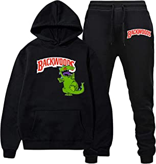 Backwoods and Dinosaur Hoodies and Long Pants Sweatshirts Casual Sport Suit Tracksuit for Men Women