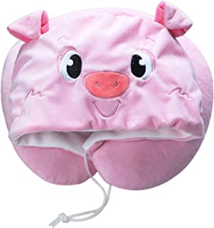 LOVOUS Cute Cartoon Animal Hooded Travel Neck Support Pillow Soft Plush Toy Comfortable U Shaped Pillow with Hat for Airplane, Office (Pink Pig)