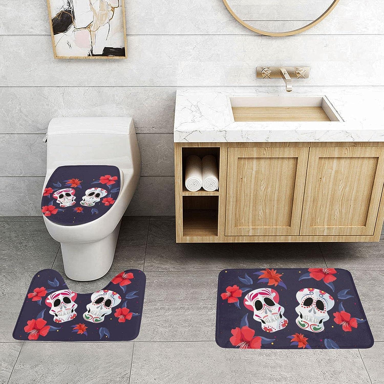 Jsragt Bathroom Opening large release sale Max 71% OFF Rug Sets 3 Absorbent Printed Pieces Pedestal