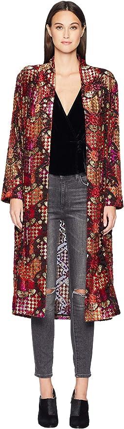Long Kimono In Devoré Velvet