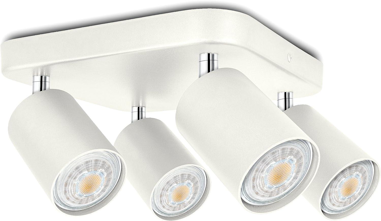 LED Deckenstrahler Wei, 4 flammig dreh- und schwenkbar - Spotserie 4er - Spot Beleuchtung inklusive 4 x LED GU10 warmwei