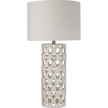 "Amazon Brand – Stone & Beam Ceramic Geometric Cut-Out Table Desk Lamp With LED Light Bulb, 25""H, White"
