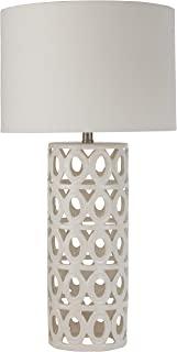 Stone & Beam Ceramic Geometric Table Lamp 25H With Bulb White Shade