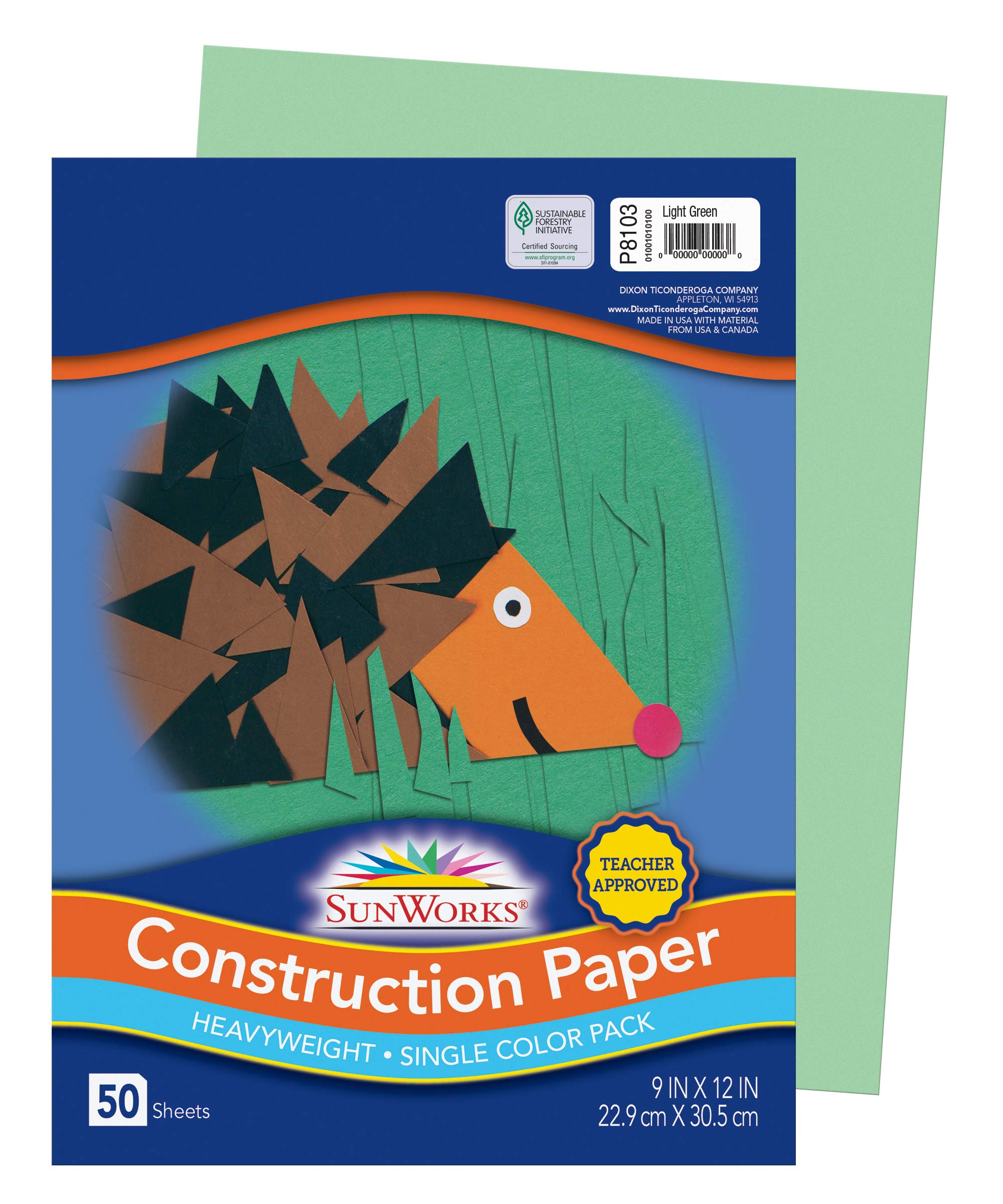 9 x 12 Inches Assorted SunWorks Heavyweight Construction Paper Pack of 50