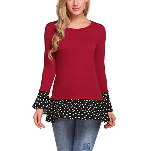 203fee0868f Zeagoo Women Casual Ruffle Hem Tunic Bell Sleeve Polka Dot Blouse Dressy Tops  Shirts