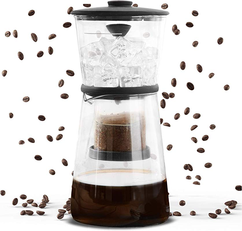 Refinery Coffee Cold Brewer Slow Drip Cold Brew Maker Best Coffees And Teas Lower Acidity And Bitterness No Extra Filters Needed Adjustable Drip Rate Controls Intensity 17 Fl Oz 500 ML Glass
