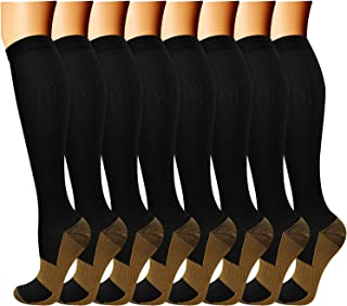 QUXIANG Copper Compression Socks (8 Pairs) for Women & Men- Best for Running,..