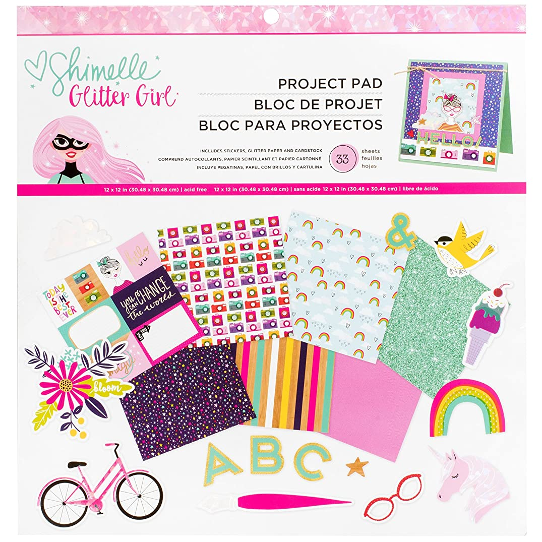 American Crafts Shimelle Glitter Girl 33 Sheet 12 x 12 Inch Project Pad