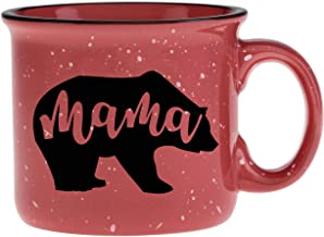 Cute Girly Coffee Mug for Mom, Women - Mama Bear - Coral - Unique Fun Gifts for Her, Wife, Mom, Under $20 -Novelty Coffee Cups & Mugs with Quotes, 14 oz