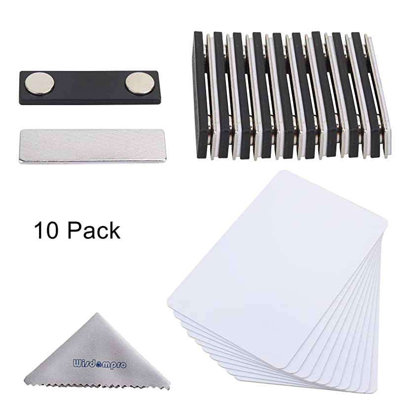 DIY Name Badges, Wisdompro 10 Set White Printable Blank PVC Badges (3-3/8