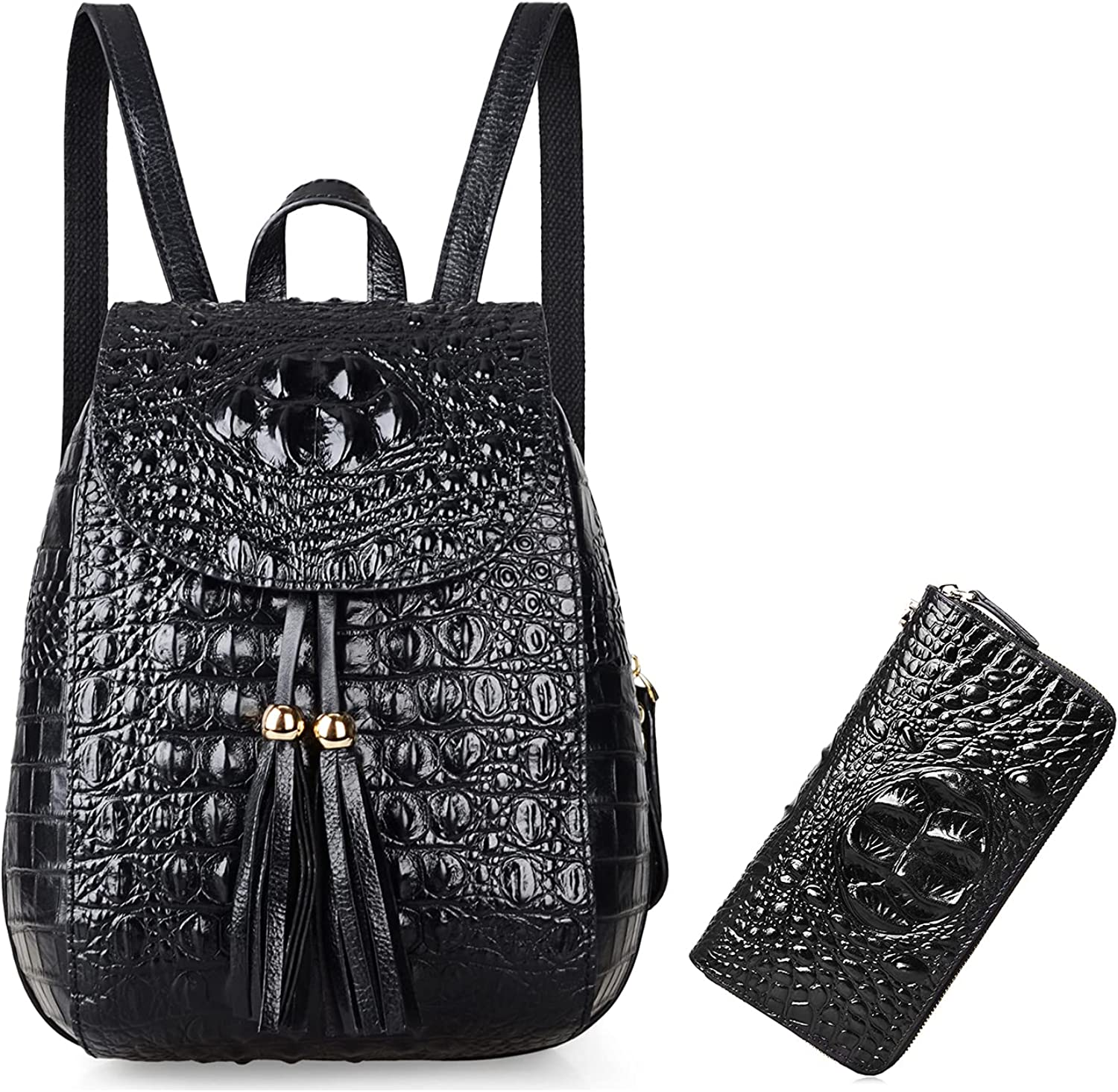 PIJUSHI Leather Backpack For Women Crocodile Bags Fashion Casual Backpack Purses Bundle with Wristlet Wallet For Women Crocodile Leather Wallet Ladies Clutch Purses