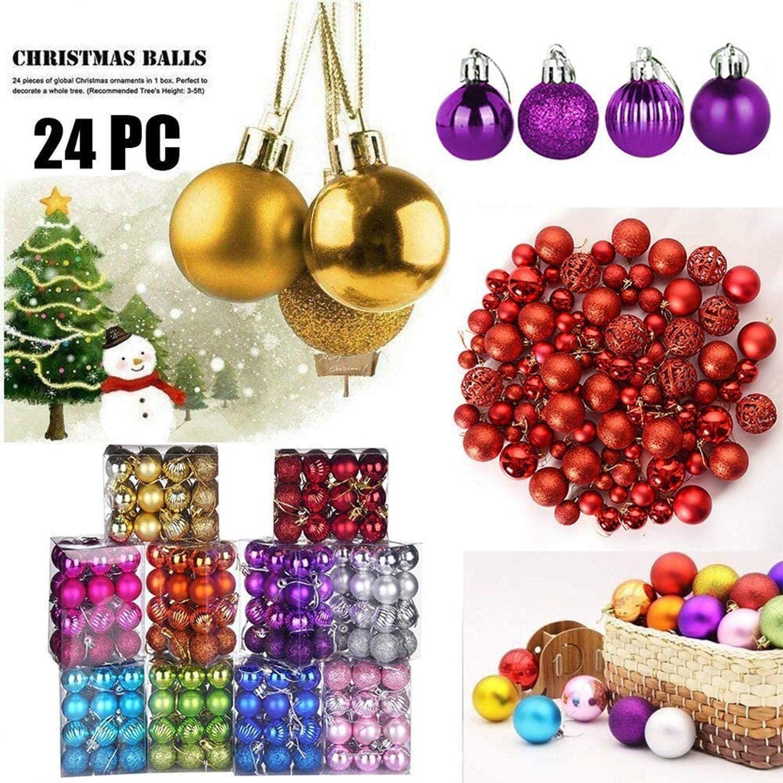 24 Bolas de Decoraci/ón Navide/ña Rojo Bolas de Adornos Navide/ños BrillantesNavide/ño para Colgar en la Pared Adornos WELLXUNK/® Bolas de Navidad