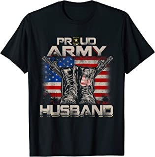 Proud Army Husband America Flag US Military Pride T-Shirt