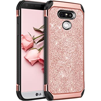 BENTOBEN Case for LG G5, Shockproof Anti-Scratch Glitter Bling Luxury Dual Layer Girl Women Hybrid Hard PC Laminated Glitter Sparkly Shiny Faux Leather Protective Case for LG G5 (2016), Rose Gold