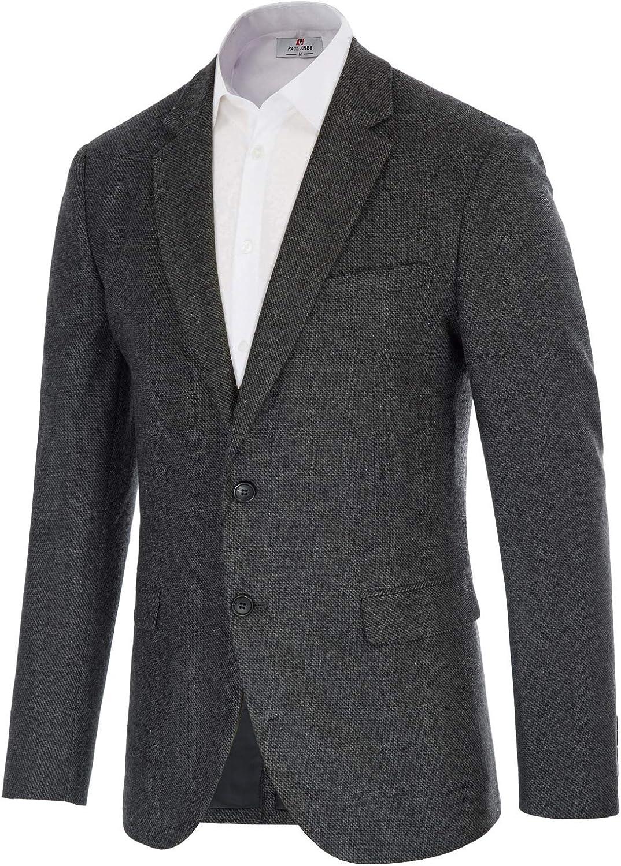 Mens Wool Blend Blazer Jacket Houndstooth Suit Blazer Notch Lapel 2 Button