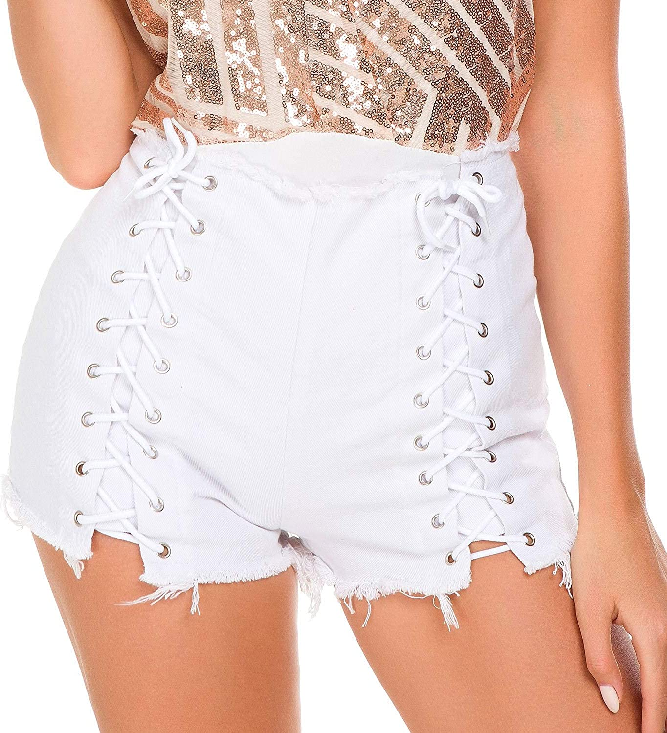 Summer Denim Shorts hot Pants Ultra Short Nightclub Women's Sexy high Waist Hole Black lace (color   White, Size   S)