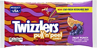 TWIZZLERS Pull 'n' Peel Licorice Candy, Fruit Punch, 12 Ounce