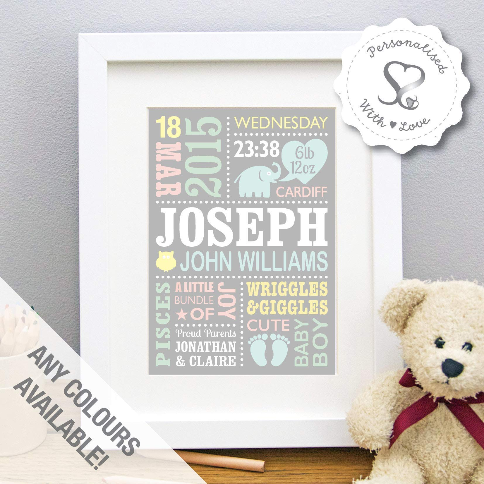 The Whistling Wren Birth Details Stats Picture A3 Mint - 297 x 420mm Personalised Birth Print for Baby Boy Bespoke Christening or Baptism Present New Baby Gift