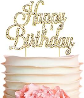 Sponsored Ad - Happy Birthday Cake Topper - Premium Gold Metal - Happy Birthday Party Sparkly Rhinestone Decoration Makes ...