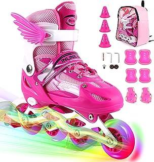 ZALALOVA Inline Skate for Girls, Kids Adjustable Inline Skates Safe Girls Roller Skates with Thickened Breathable Mesh Rol...