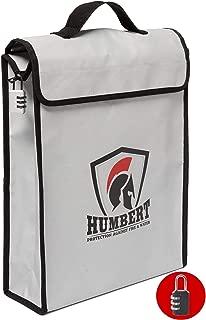 "HUMBERT Fireproof Lock Box Bag (16""x11.5""x4"") - Fireproof Document Bags - Fireproof & Water Resistance Bag - Fireproof Folder Safe Bag for Legal Documents, Files, Money, Cash, Passport, Valuables"