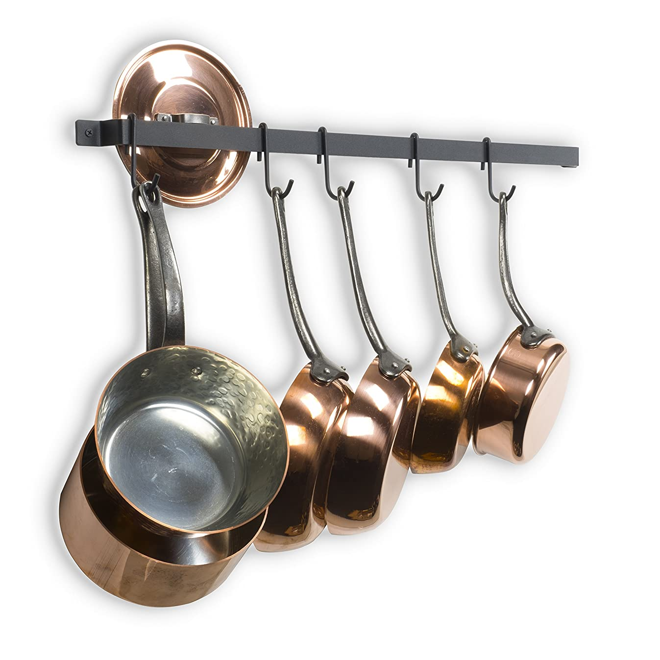 Wallniture Kitchen Rail Organizer Iron Hanging Utensils Rack with Hooks Frosty Black 30 Inch