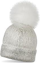 styleBREAKER cálido Gorro con pompón de Punto metálico con un pompón de Pelo Artificial Amovible, Gorro de Invierno con pompón de Pelo, señora 04024138