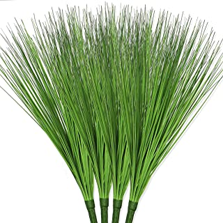 Bird Fiy Artificial Plants 4 PCS Fake Greenery Shrub Bushes UV Resistant Plants Plastic Onion Grass for for Indoor Outdoor...