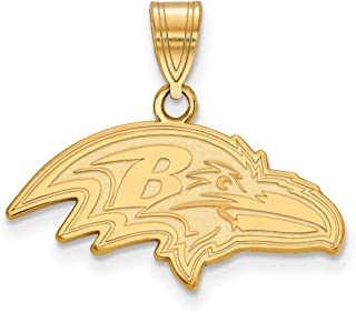 Kira Riley Gold Plated Baltimore Ravens Medium Pendant for Chains and Necklaces