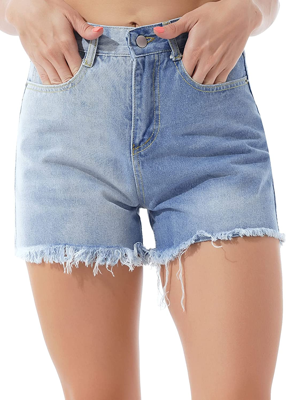 Hularka Women's Casual Contrast Color Denim Shorts Frayed Raw Hemline Jeans Shorts