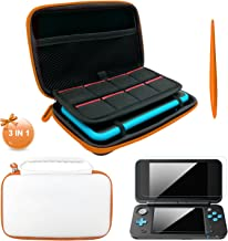 3 in 1 Case for New Nintendo 2DS XL,Carrying Case for Nintendo 2DS XL with Stylus,2 Screen Protector Film and 8 pcs Game Card Cases - White